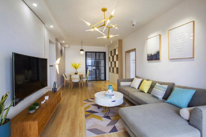 龙口装修98㎡北欧风格家居设计,舒适减压的空间氛围